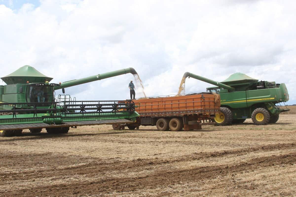 Máquinas agrícolas abastecem caminhão com soja