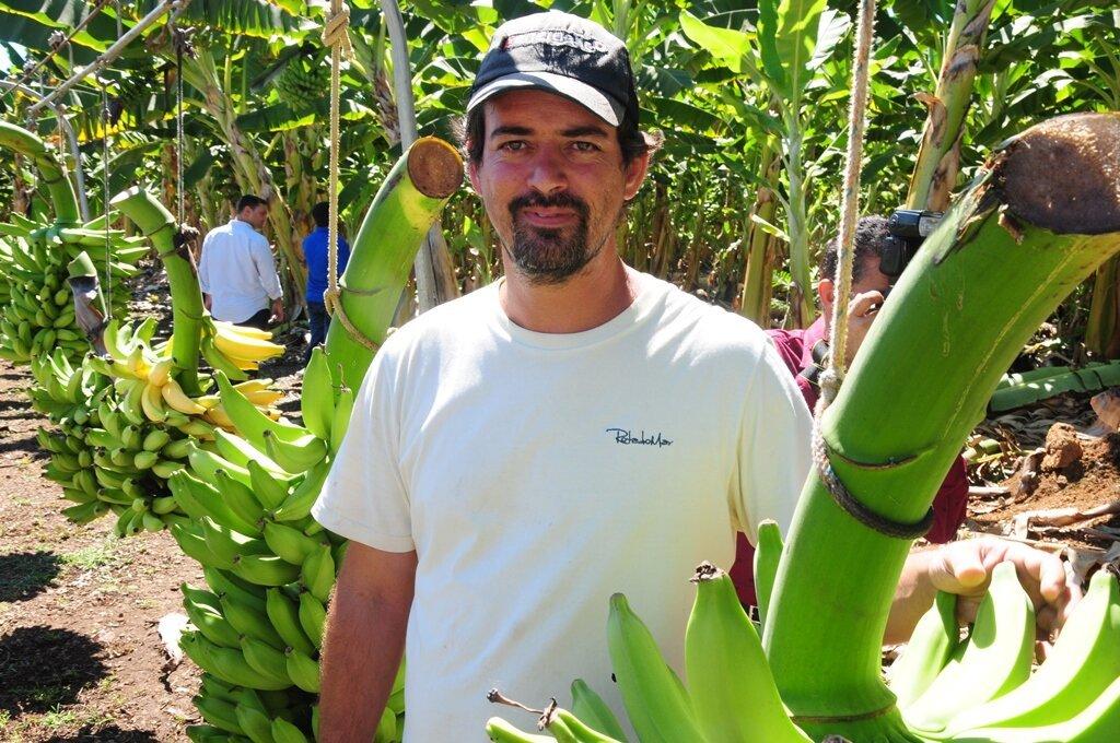 Produtor rural Marcos Ribeiro no meio de um plantio de bananas