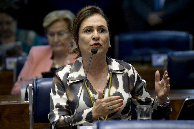 Senadora Kátia Abreu ao microfone, no plenário do Senado