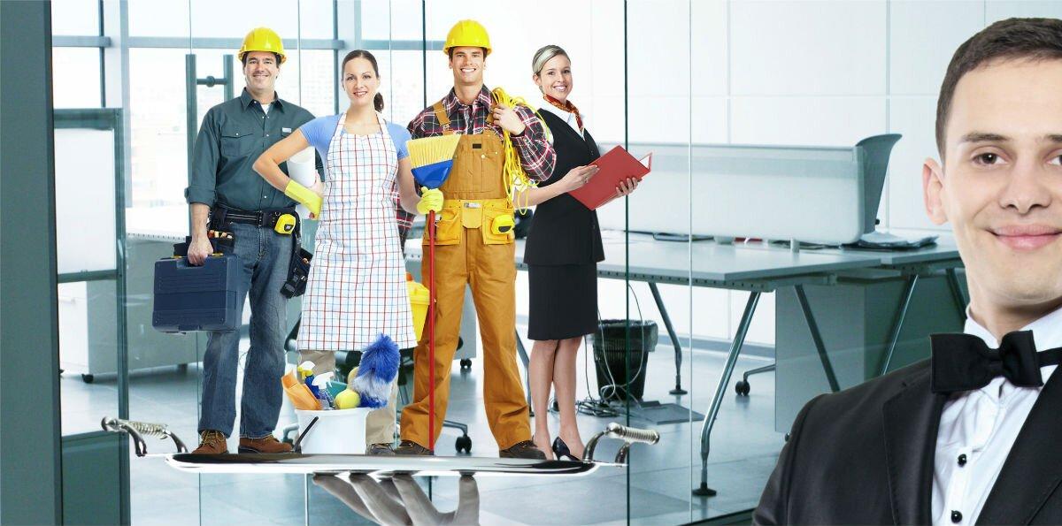 Montagem com vários profissionais do setor de serviços