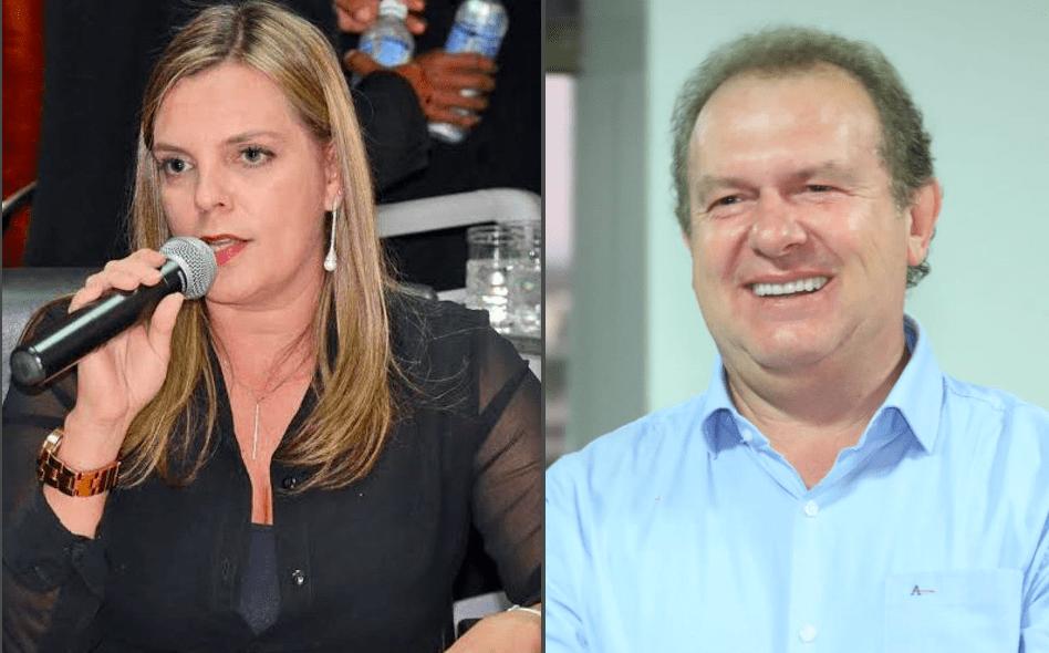 Deputada estadual eleita Cláudia Lelis e o governador Mauro Carlesse